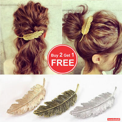 Leaf Feather Hair Pin Jewelry Women Vintage Hair Clip Barrette Bobby Gold Silver • 1.95£