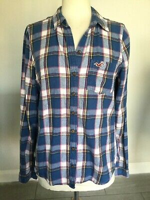 Hollister Ladies Blue Long Sleeve Check Shirt Size L Good Condition  • 12.99£