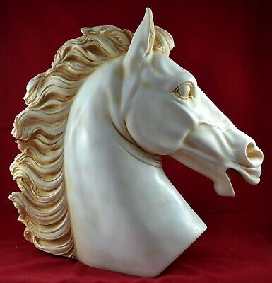 Large Horse Head Statue Sculpture 15 Inch Wealth Prosperity Marble Aged Patina  • 202.60£