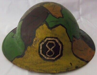WW1 British  Brodie  Helmet W/Camo Finish-8th U.S. Army Corps Insignia • 286.60£
