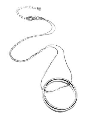 Circle Ring Karma Pendant Silver Threaded Love Eternity Chain Necklace Valentine • 3.65£