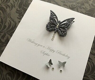 Personalised Handmade Birthday Card 16 18 21 30 40 50 60 Grey Glitter Butterfly • 2.75£