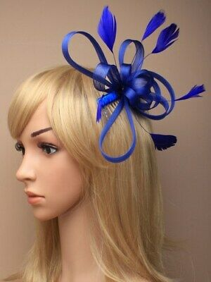£6.20 • Buy Royal Blue Fascinator With Loops And Feathers On Clear Comb.