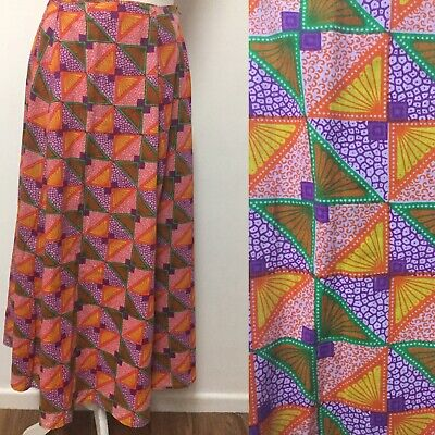 Colourful Ethnic Print A Line Skirt Size 14 Cotton Funky Spring Summer Midi • 13.99£
