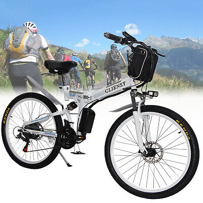 $550 • Buy White 26  CLIENSY Folding Electric Bike City Mountain Cycling EBike 36V 350W New