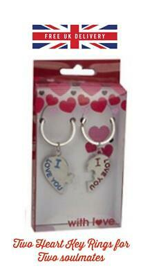 VALENTINES DAY ROMANTIC GIFTS For His Her Love Heart I Love You Couple Key Ring • 3.49£