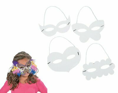 24 Mixed White Colour-In Card Masks For Kids Arts & Crafts | Masks To Decorate • 12£