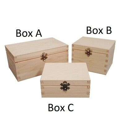 Plain Natural Wooden Box Selection Bulk Set Case Clasp Keepsake Storage Choice • 8.99£