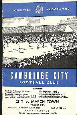 £1 • Buy Cambridge City V March Town United Fenland Cup Programme 1965