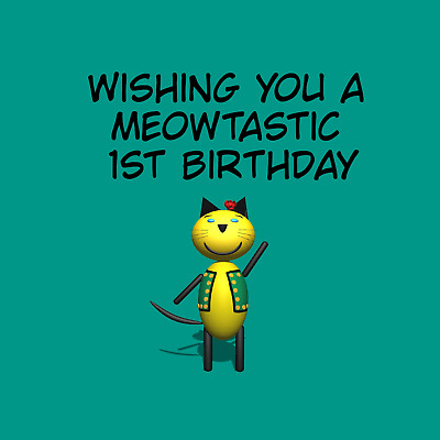 £3.99 • Buy Meow And Woof  1st Birthday Card, Can Be Personalised. Poem Cat Kitten One 1