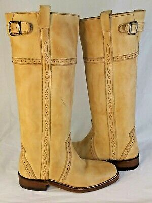 Sancho Women US6 Tall Beige Leather Handmade Western Cowboy Boots Spain 1021 • 35.84£