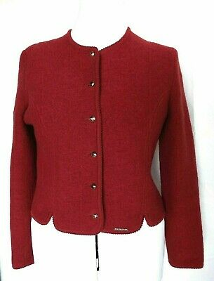 $35.98 • Buy Geiger Austria Womens Boiled Wool Sweater Jacket Coat Red Size 4 US 8 UK 36 EU
