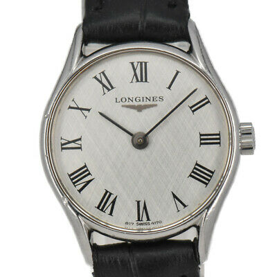 $ CDN135.77 • Buy Auth Vintage LONGINES Stainless Steel/Leather Hand-winding Women's Watch N#90098