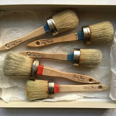 Annie Sloan Chalk Paint Brushes Wax Brush Oval Wooden Small & Medium All USED • 24£