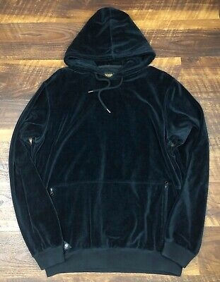 $35.99 • Buy 10 Deep Boxed In Velour Hoodie Black Size L Pullover Sweater Men's