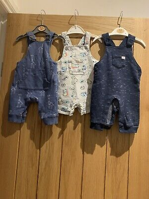 Baby Boy Pack Of 3 Dungarees 0-3 Months. • 7£