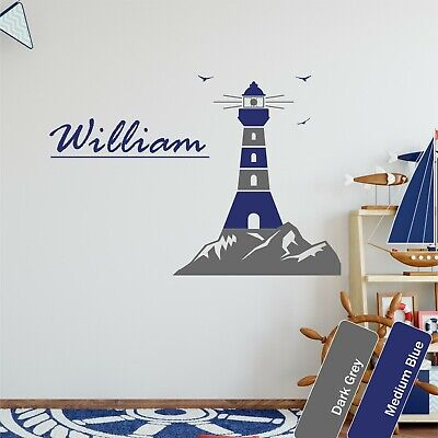 Lighthouse Custom Name Wall Art Sticker Boy & Girls Bedroom Personalised Decal • 12.99£