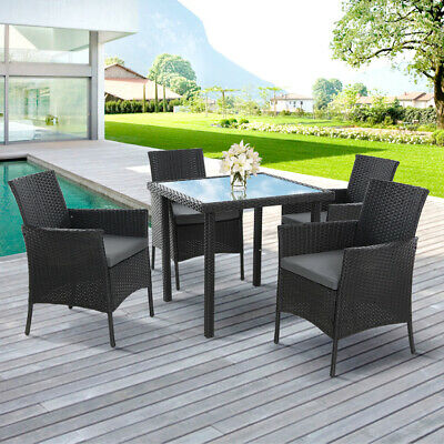 AU614.46 • Buy 5 Pc Outdoor Dining Set Patio Furniture PE Wicker Chair & Table Setting