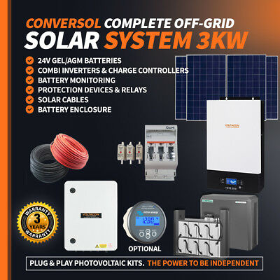 £3386 • Buy 3kW Off Grid Solar Kit, Inverter Charger 9x Solar Panels Cables, Accessories