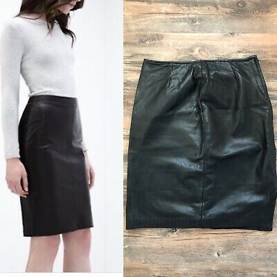 $ CDN55 • Buy Vintage Danier Leather Pencil Skirt With Slit Size 4 Black