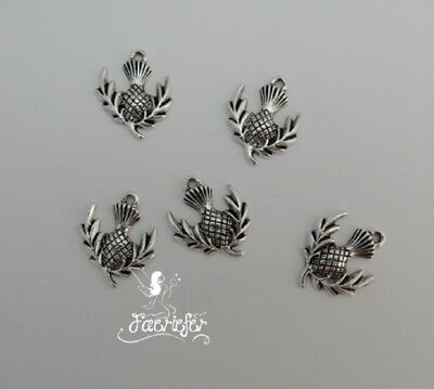 £3.95 • Buy Scottish Thistle Flower Of Scotland Charms X 20 For Jewellery Making Or Crafts