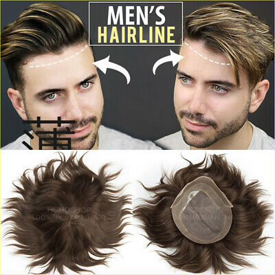 £118.45 • Buy Thin Slin Toupee Men's 100% Human Hair Hairpiece Wig Replacement System Brown UK