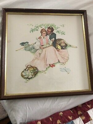 $ CDN19.64 • Buy Framed Norman Rockwell Art Print Young Couple Man And Woman Dating Romantic