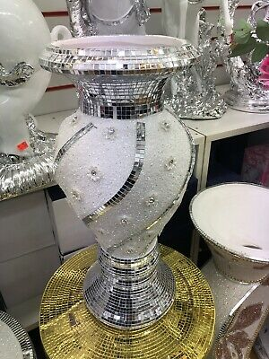 LARGE SILVER MIRRORED SPARKLE VASE, LOVELY SPECTACULAR 45cm Tall • 34.99£