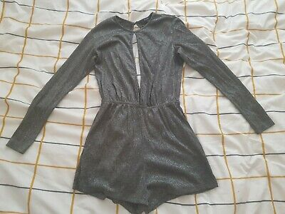 Pull And Bear Silver Sparkly Jumpsuit Size Small • 2.99£