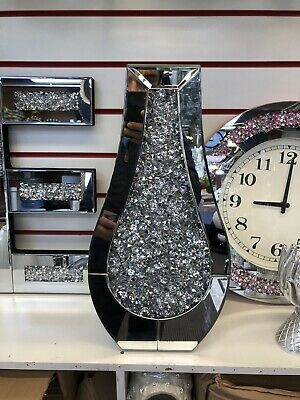 Crushed Diamonds Silver Flower Vase, Mirror Sparkle Crystal 50Cm Tall. • 80£