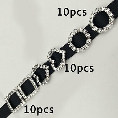 10 Circle, Heart, Or Square Diamante Rhinestone Crystal Buckle Ribbon Sliders • 2.89£
