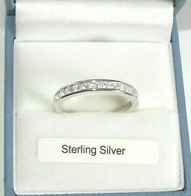 925 Hallmarked Silver Lab Diamond Half Eternity Forever Promise Ring Gift Boxed • 19.99£