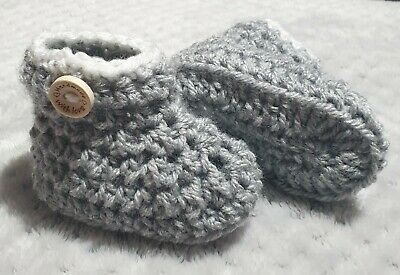 Handmade With Love Crochet Baby Boy/Girl Button Booties, Grey And  White 0-3  • 2.50£