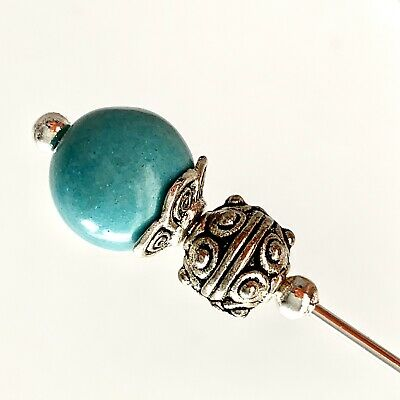 Turquoise Gemstone Vintage Antique Silver Style Hat Pin 5  With Pin Protector** • 4.99£