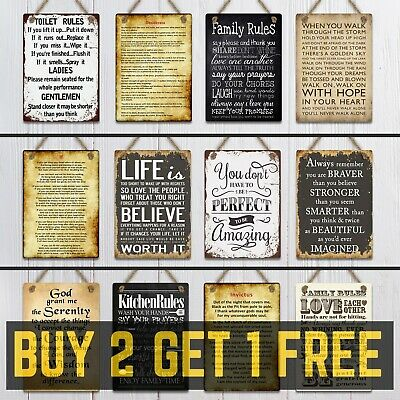 Metal Hanging Signs Plaques Retro Vintage Quotes Family Life Home Toilet Rules • 2.99£