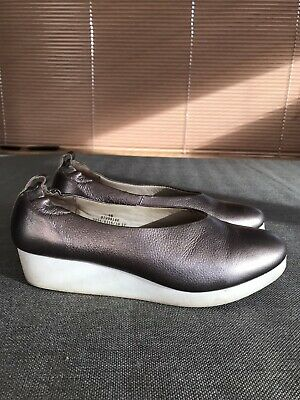 Marks And Spencer Ladies Pewter Silver Wedge Ballerina Style Shoes 6/39 • 3.50£