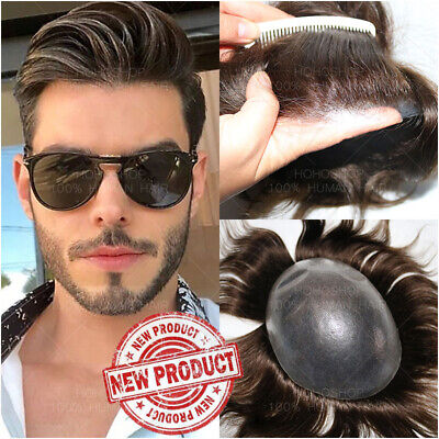 £118.45 • Buy Poly Skin Replacement System Men Toupee Human Hair Hairpiece Wig Topper Brown UK