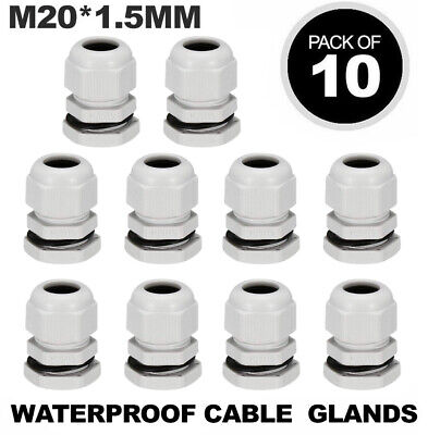 £5.95 • Buy 10 X M20 White 20mm Ip68 Waterproof Compression Cable Stuffing Gland Locknut