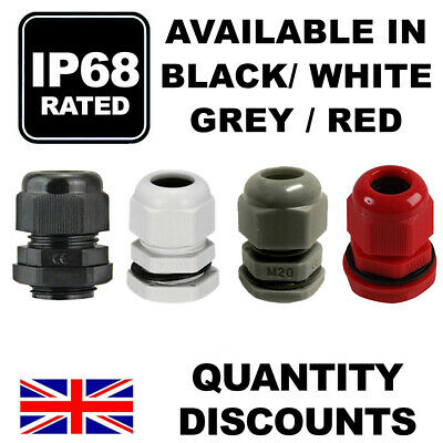 £3.69 • Buy Black Grey White Waterproof Ip68 Waterproof Compression Cable Gland M12 M16 M20