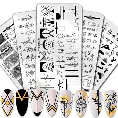 $0.99 • Buy NICOLE DIARY Geometric Design Stamping Plate Flower Nail Art Image Stamp Stencil
