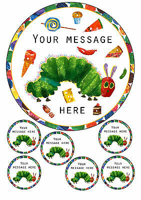 The Very Hungry Caterpillar Personalised Cake Topper 7.5  Round, A4 Icing Sheet • 4.95£