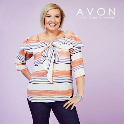 £4.99 • Buy Avon Ladies Womens Printed Striped Off The Shoulder Bow Top Size 10 12 14 16
