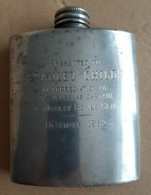 £9 • Buy Vintage Pewter Hip Flask 3oz English Sheffield 1982 With Inscription