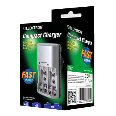 NEW Lloytron Mains Multi Battery Charger For AA AAA & 9V Sizes B1502 • 8.99£