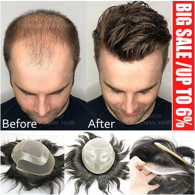 £118.45 • Buy Thin Skin Remy Human Hair Toupee Men Swiss Lace Hairpiece Wig Replacement System
