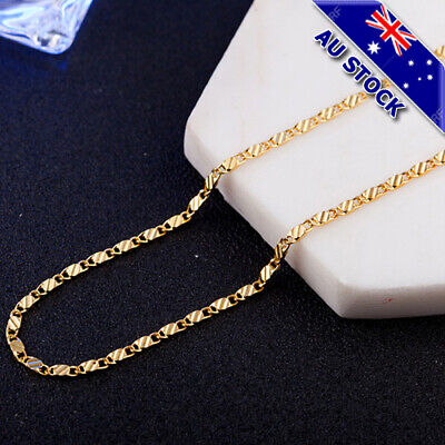 AU4.99 • Buy Genuine 18K Gold Plated 2MM Heshe Chain Necklace Jewelry