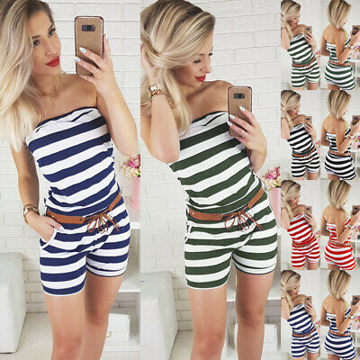 WomenS Striped Bandeau Strapless Mini Playsuit Casual Holiday Short Jumpsuit UK • 6.69£