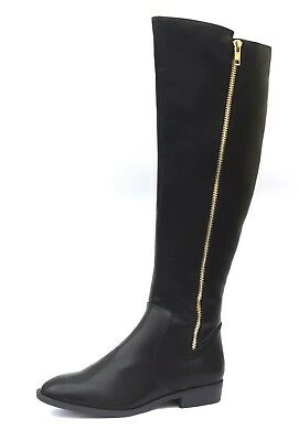 £34.99 • Buy Red Herring Ladies UK 5 EU 38 Black Faux Leather Knee High Zip Up Tall Boots