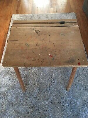 Old School Desk With Lift-up Kid & Inkwell, Solid Wood, Vintage • 25£