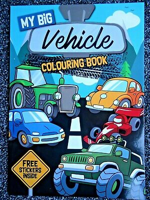 MY BIG VEHICLE COLOURING BOOK & STICKERS - Cars,trucks,planes & MORE Children's  • 2.99£